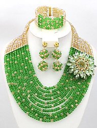 New Wedding Bridal Jewelry Set Crystal Beads Necklace African Beads Jewelry Set AC068