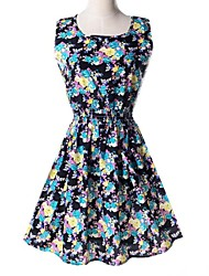 Women's Print Multi-color Dress , Print U Neck Sleeveless