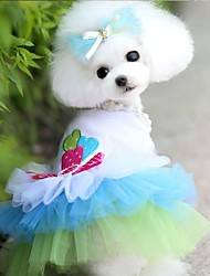 Dog Dress Blue / Pink Dog Clothes Summer Hearts