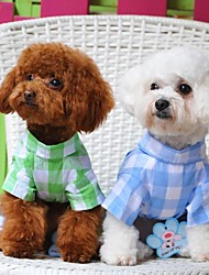 Green/Blue/Pink Cotton Model Checker Jeans T-Shirt/Pants For Dogs and Pets