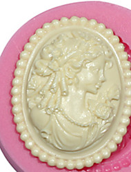 cameo feminina de molde de silicone molde de silicone senhora para pasta de goma fimo e chocolate sm-473