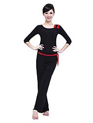 Mujer Yoga Tops Medias mangas Transpirable / Listo para vestir / Capilaridad / Compresión Rojo / Negro / AzulYoga / Fitness / Deportes