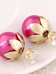 Women's European Style Resin Stud Earrings With Rhinestone