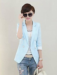 Women's Blue/Pink/White/Yellow Blazer , Casual ¾ Sleeve
