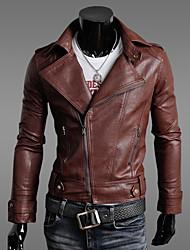GZZG Men's Korea Style Slim Pu Leather Coat
