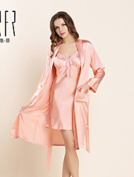 Women's Fashion Pajamas and Robe KRFR® 100% Silk Medium Pajamas and Robe