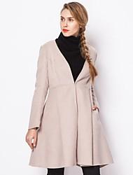 Women's Beige Coat Long Sleeve Wool
