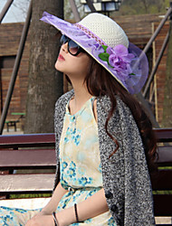Women's Cute/Casual Flower Mesh Summer Straw Floppy Hat