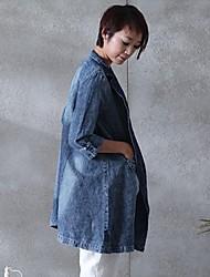 2015 spring coat female han edition of high-end fashion linen dress coat joker original design free agent