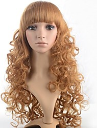 Lady's Medium Length Blonde Curly Hair Wig with Full Bang