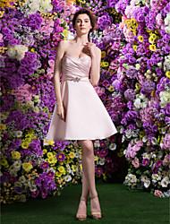 retour ts couture cocktail robe - rose perle d'une ligne / princesse chérie genou longueur satin