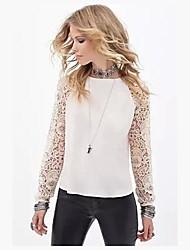 Women's Lace+Chiffon Long Sleeve Blouse