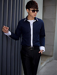 Shirts Classic (Semi-Spread) Long Sleeve Cotton/Polyester Solid White/Navy Blue