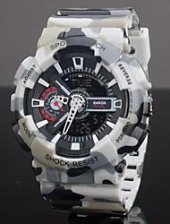 SANDA Masculino Relógio Esportivo Quartzo LCD Calendário Cronógrafo Impermeável Dois Fusos Horários alarme Borracha BandaVermelho Verde