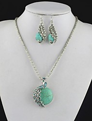 Toonykelly Vintage Antique Silver Peacock Turquoise(Earring and Necklace)Jewelry Set