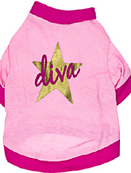 Katzen / Hunde T-shirt Rosa Hundekleidung Sommer Sterne Hochzeit / Cosplay