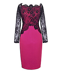 AJM    Women's European Lace Sexy Thin Long Sleeve Bottoming Dress