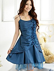 Knee-length Satin / Polyester Bridesmaid Dress A-line / Princess Spaghetti Straps with