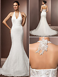 Lan Ting Trumpet/Mermaid Plus Sizes Wedding Dress - Ivory Court Train Halter Lace