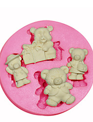 Cartoon Shape Teddy Bear Silicone Mould Cake Decorating Silicone Mold For Fondant Candy Crafts Jewelry PMC Resin Clay