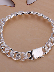 Simple Men's Rectangle Button Sideways Distant Shading Silver Plated Brass ID Bracelet(Silver)(1Pc)