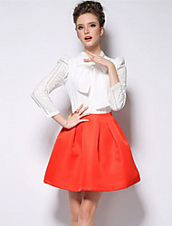 O  M  G  Women's Fashion Chiffon Lace All-matched Bowknot T-shirt