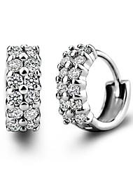 Hoop Earrings Women's Silver/Cubic Zirconia Earring Cubic Zirconia