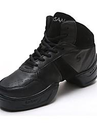 Women's Dance Shoes Dance Sneakers Leather Low Heel Black
