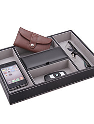 Wedding Gifts Faux Leather Storage Tray Office File Coin Shaver Cellphone Key Bead Ring Jewelry Glass Holder