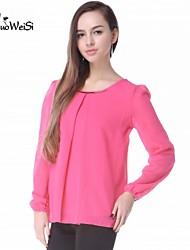 NUO WEI SI ® Women's Round Neck Bodycon Chiffon Shirt