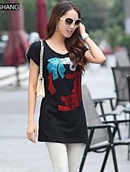 bs®women die Pailletten runden Kragen lässig Blumendruck Kurzarm-T-Shirt