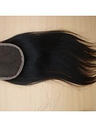 """8 """"brésilien fermeture de cheveux vierges partie libre de style 3,5"""" x4 """"couleur naturelle des morceaux de cheveux droites fermeture à"""