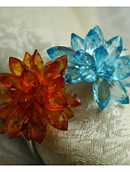 Crystal Flower Napkin Ring, Acrylic, 1.77Inch, Set of 12
