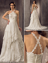 Sheath/Column Plus Sizes Wedding Dress - Ivory Court Train Halter Chiffon/Lace