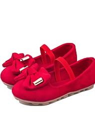 Черный / Розовый / Красный-Для девочек-Для прогулок / Для праздника / На каждый день-Искусственная замша-На плоской подошве-С круглым