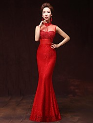Formal Evening Dress A-line High Neck Floor-length Satin with Pockets