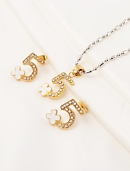 Fashion Arabic Numbers and Cross Flower 316L Stainless Steel(Necklace&Earrings) Jewelry Set