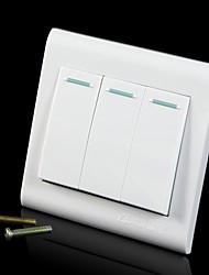 250V 10A Wall Concealed Three Single Control Switch Panel - White