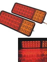 24V Vehicle Car Truck 30 LED Brake Stop Tail Rear Warning Light Lamp--Red Yellow (2pcs)