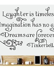 Wall Stickers Wall Decals, Tinkerbell English Words & Quotes PVC Wall Stickers