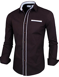 White Men's Fashion Fashion Contrast Color Simple Causal Shirt