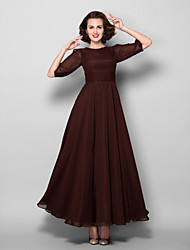 Lanting A-line Plus Sizes / Petite Mother of the Bride Dress - Chocolate Ankle-length Half Sleeve Chiffon