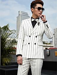 Tuxedos Tailored Fit Slim Notch 4x2 Button Cotton/Polyester Stripes 2 Pieces White