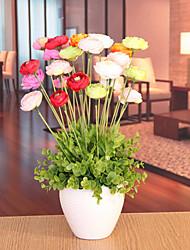 """17 """"pano h estilo moderno multicolor seda flores em vaso de cerâmica"""