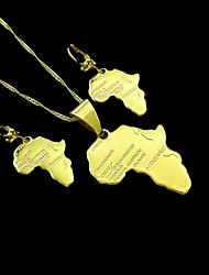 18K Real Gold Plated Map Of Africa Pendant Necklace+Earrings Jewelry Set