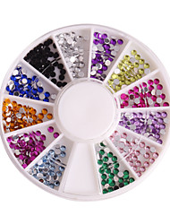 12 Color 2mm Circular Manicure Acrylic Diamond Nail Jewelry