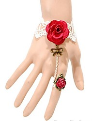 Bow Ring Lace White Roses Bracelet