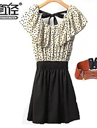 Women's Sleeveless Vestidos Polka Dots Ruffle Splicing Chiffon Mini Dress