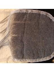 Vierge fermeture de cheveux brésiliens 4x4 12inch droite naturelle en 3 parties