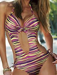 Women's Print/Striped Yellow/Purple One Piece Swimwear,Sexy Halter Bow